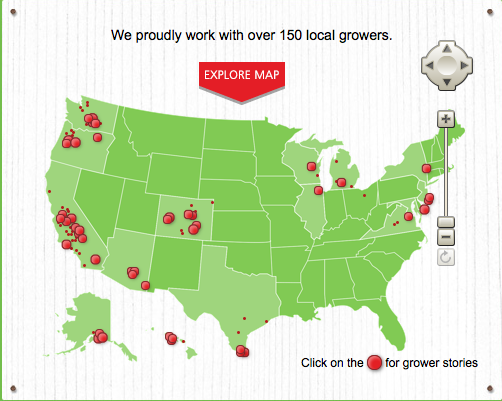Map of veg/fruit growers for safeway