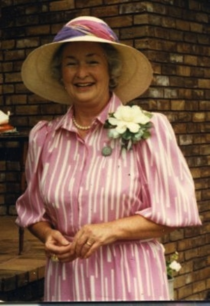 Juanita Adams in garden finery 1985