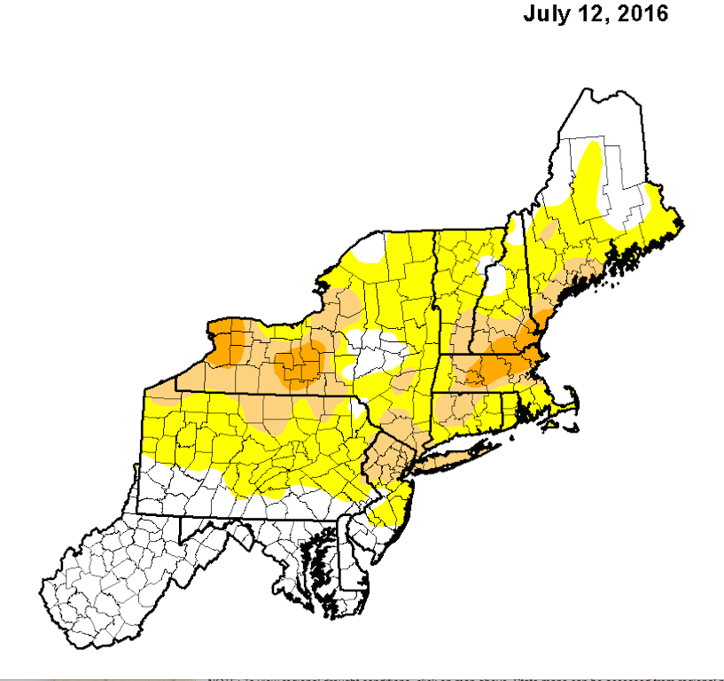 """Maryland is """"Normal"""", PA is abnormally dry and NY shows signs of drought."""