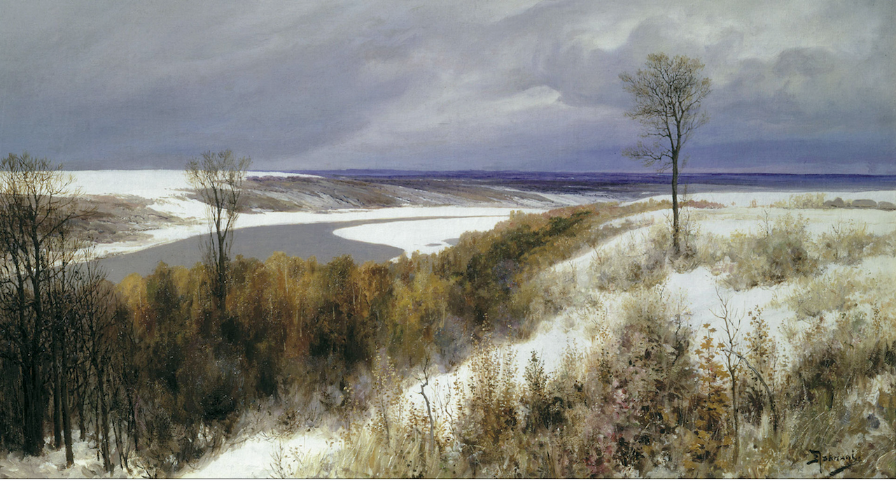 early-snow-by-vasily-polenov